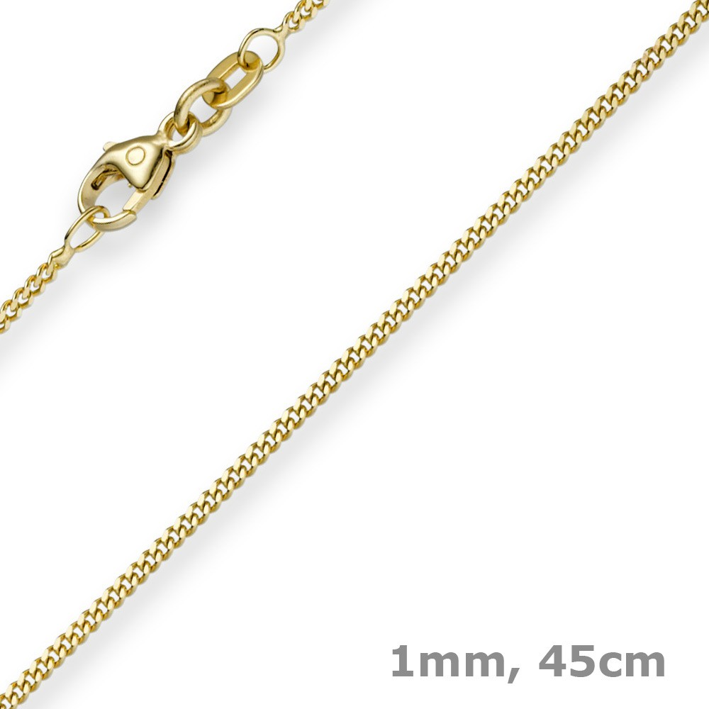 1mm feine panzerkette 585 gold gelbgold kette collier halskette 45cm kategorien goldschmuck. Black Bedroom Furniture Sets. Home Design Ideas