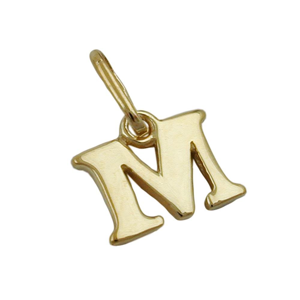 """Anhänger Einhänger """" M """" Goldbuchstabe Buchstabe aus 375 Gold Gelbgold Unisex"""