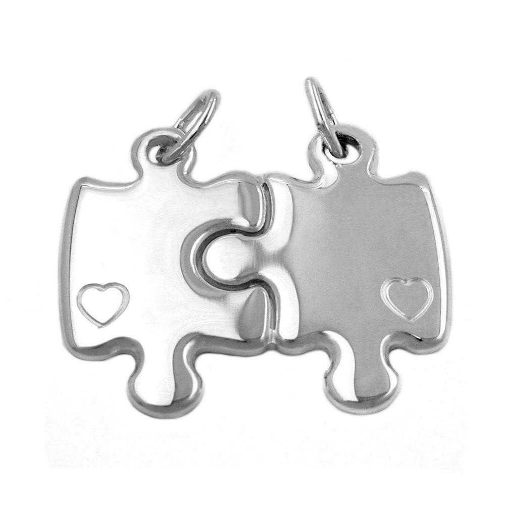 Partner Anhänger Puzzle zum Teilen mit 2 Herzen 925 Echt Silber Damen