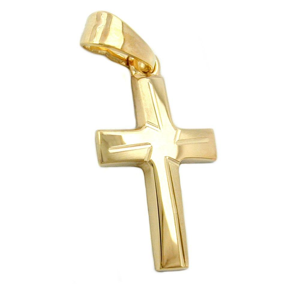 Anh nger kettenanh nger kreuz matt diamantiert 375 gold - 375 gold ...