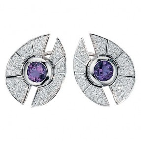 Exclusive Ohrstecker Amethyst 150 Diamanten 585 Gold Ohrschmuck Damen