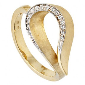 Ring Damenring 16 Diamanten Brillanten 585 Gold Gelbgold für Damen Goldring