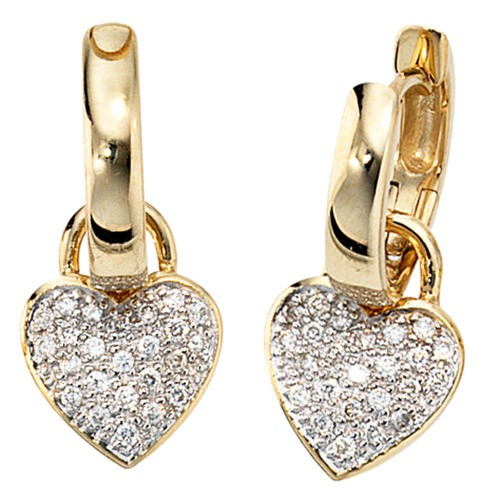 Ohrschmuck Creole Creolen Herz 48 Diamanten & 585 Gold Damen Goldohrringe