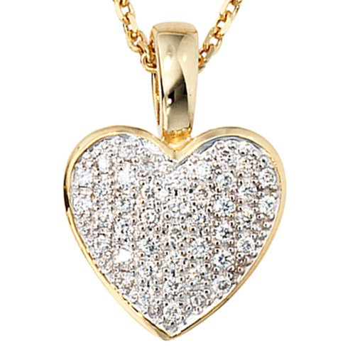 halsschmuck anh nger herz aus 585 gold mit 24 diamanten. Black Bedroom Furniture Sets. Home Design Ideas