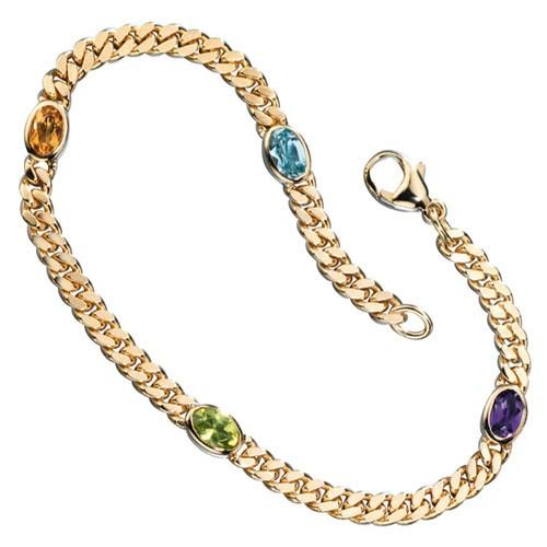 Armband Aquamarin Citrin Amethyst Peridot 585 Gold Gelbgold Armschmuck Damen
