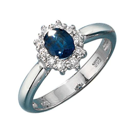 ring goldring damenring blauer saphir diamanten brillanten 585 gold wei gold. Black Bedroom Furniture Sets. Home Design Ideas