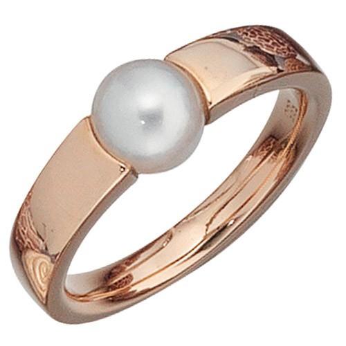 Ring Damenring mit Süßwasser-Perle & 585 Rotgold Gold Fingerschmuck Goldring