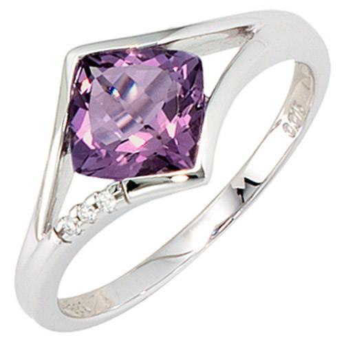 ring damenring mit amethyst 3 diamanten brillanten 585 wei gold goldring. Black Bedroom Furniture Sets. Home Design Ideas