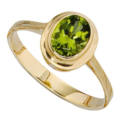 ring damenring aus 585 gold gelbgold mit peridot gr n. Black Bedroom Furniture Sets. Home Design Ideas
