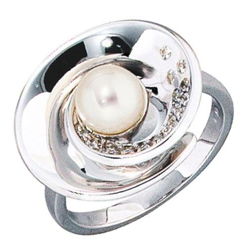 Perlenring Goldring Damen Ring mit 22 Diamanten & Perle 585 Weißgold