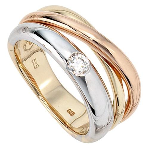 Ring mit Diamant Brillant 585 Gelbgold Weißgold Rotgold Damenring Goldring