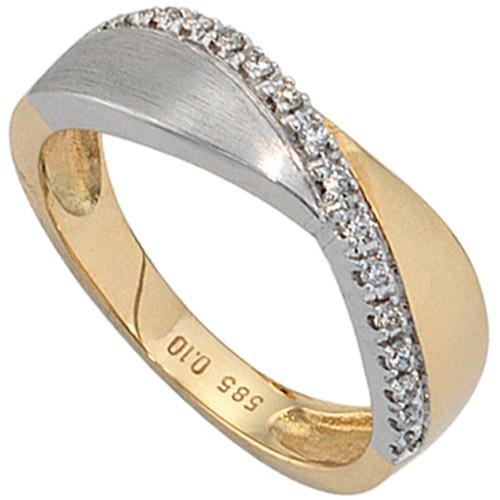 Damenring mit 16 Diamanten Brillanten 585 Gold gelb weiß Ring