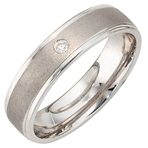 Ring Damenring mit Zirkonia 925 Silber mattiert Breite 5mm Damen Silberring