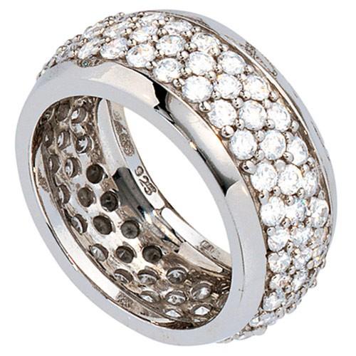 Breiter Ring Damenring mit Zirkonia rundum 925 Silber Silberring