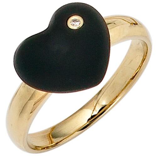 Ring Damenring Herz aus Onyx schwarz Diamant Brillant 585 Gold Gelbgold