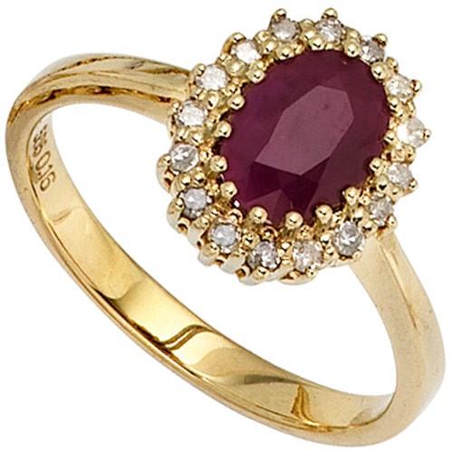 ring damenring mit rubin rot 16 diamanten brillanten 585 gold gelbgold goldring ebay. Black Bedroom Furniture Sets. Home Design Ideas