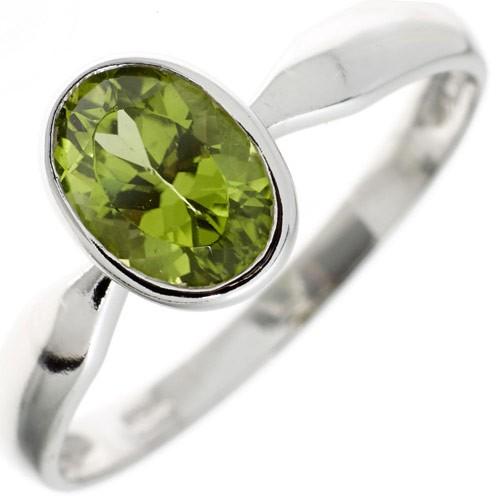 Damenring Ring mit echtem Peridot grün 925 Silber oval Fingerschmuck