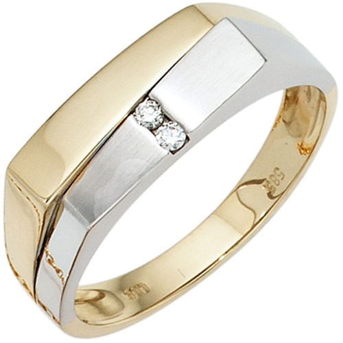 Herrenring Ring Mit 2 Diamanten Brillanten 585 Gold