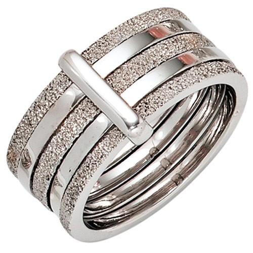 Breiter Damenring Ring aus 925 Silber teildiamantiert Fingerring Damen