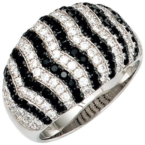 Ring Damenring 925 Silber breit Zirkonia schwarz/weiß Fingerschmuck