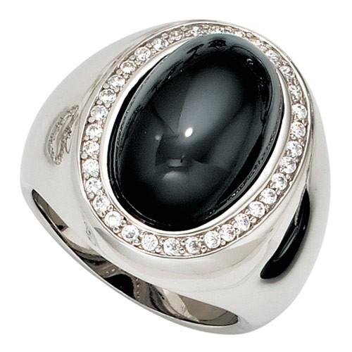 Ring Damenring 925 Silber glänzend breit Onyx mit 33 Zirkonia klassisch