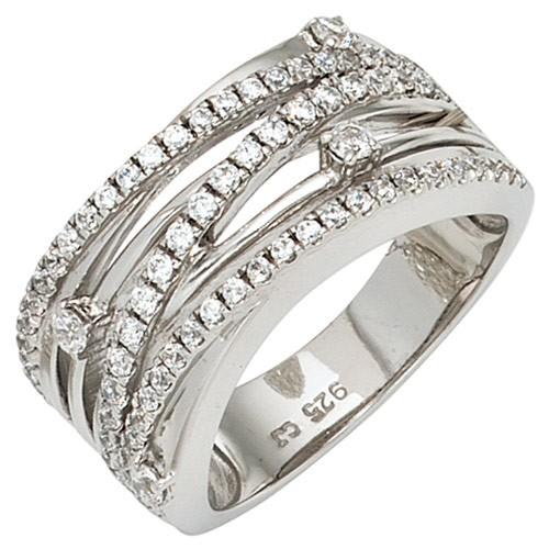 Breiter Ring Damenring aus 925 Silber & Zirkonia weiß Fingerring