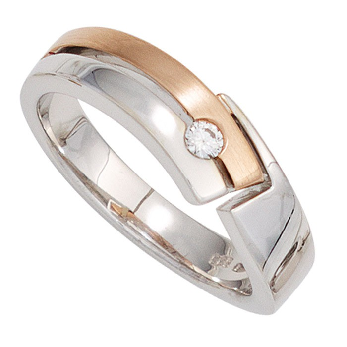 Ring Damenring mit Diamant Brillant 0,06 Ct. 585 Gold Weißgold Rotgold Goldring