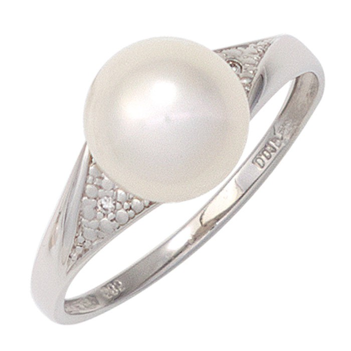 Ring Damenring Süßwasser Perle Diamanten Brillanten 333 Gold Weißgold Goldring