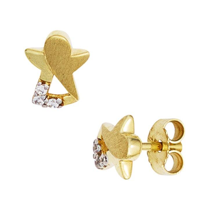 Ohrringe Ohrstecker Engel 333 Gold Gelbgold teilmatt Zirkonia Kinder
