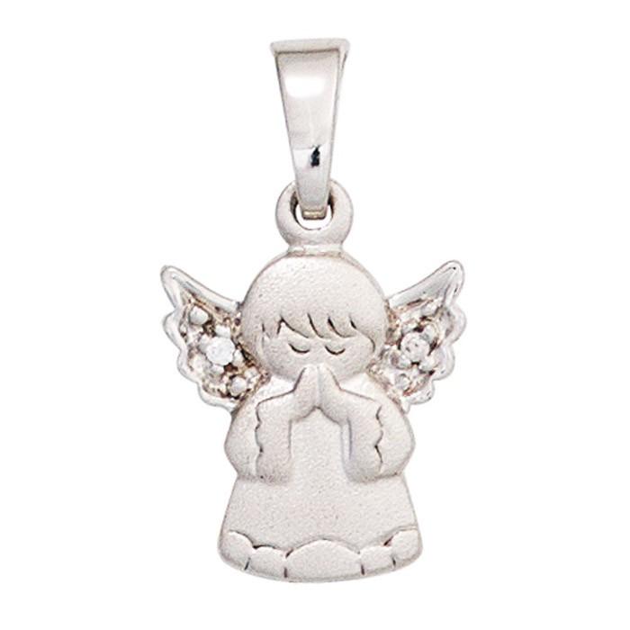 Anhänger betendes Engel Schutzengel 925 Silber teilmatt weiße Zirkonia Kinder