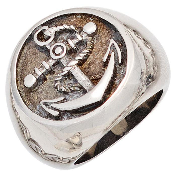 Herrenring Ring Siegel Anker mit Trosse aus Edelstahl Herren Männer