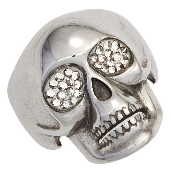 Ring Totenkopf Schädel Skull Edelstahl mit Swarovski-Elements Herren Herrenring