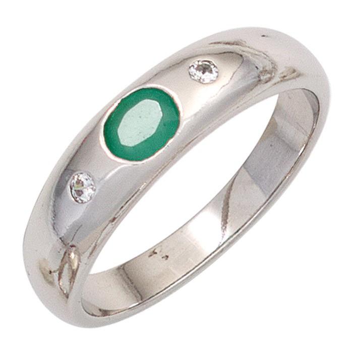 Ring Damenring Smaragd oval grün Zirkonia weiß 925 Silber schlicht Silberring