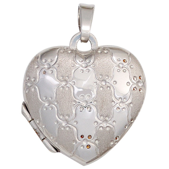 Medaillon Anhänger zum Öffnen Amulett Herz 925 Silber teilmattiert Damen
