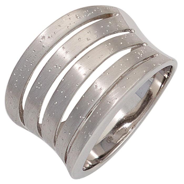 Breiter Ring Damenring aus 925 Echt Silber mattiert nach innen gewölbt