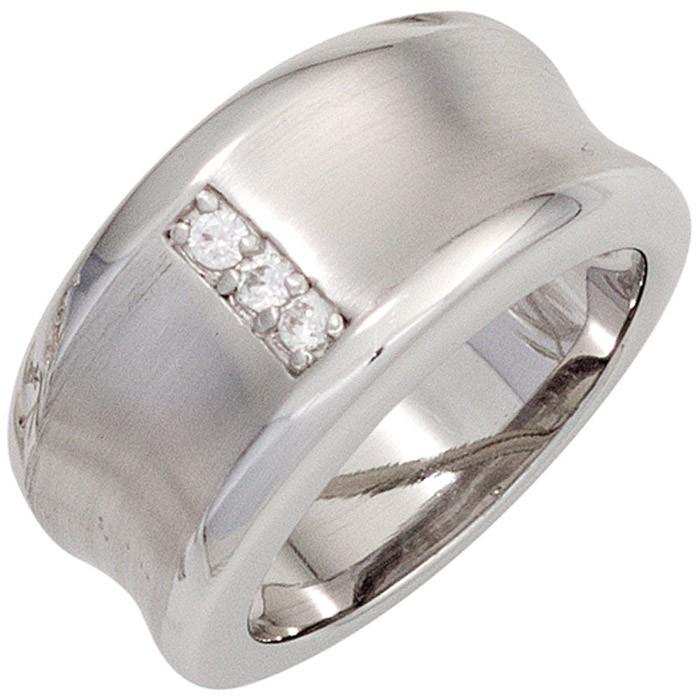 Breiter Ring Damenring 925 Silber nach Innen gewölbt teilmatt 3 Zirkonia