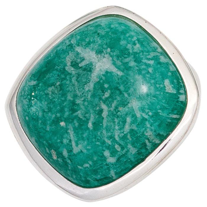 Ring Damenring mit Amazonit Quadrat abgerundet 925 Silber türkis-grün