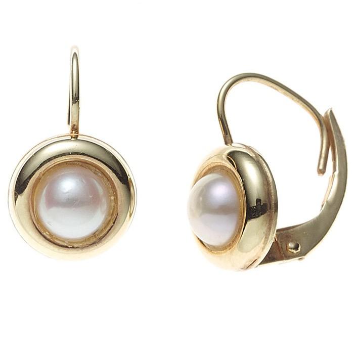 Boutons Ohrringe Ohrhänger 333 Gold Gelbgold Perlen Goldohrringe Damen