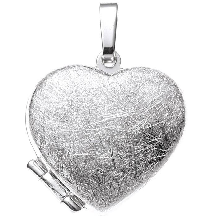 Medaillon Anhänger Herz aus 925 Silber glänzend eismatt Amulett Damen