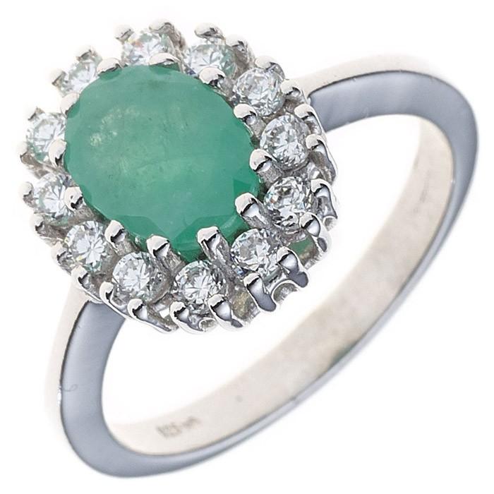Ring Damenring aus 925 Silber Zirkonia Smaragd grün oval Silberring