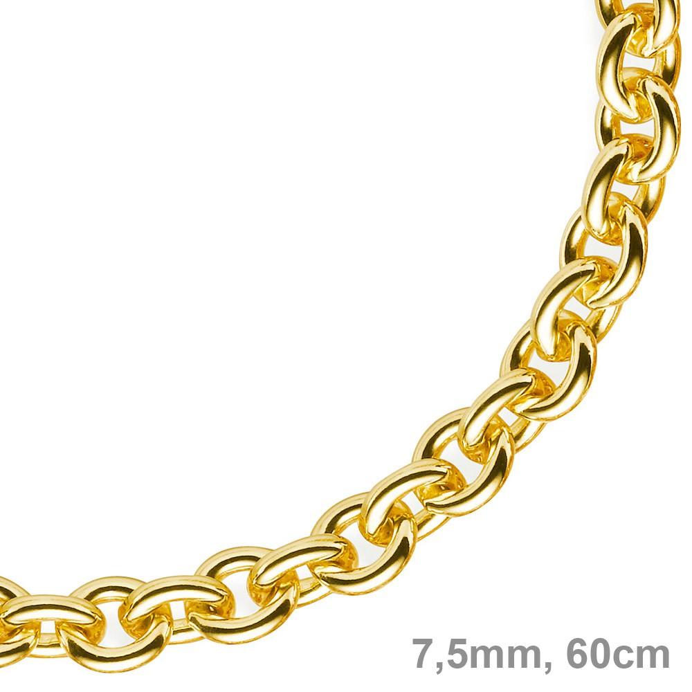 7 5mm rund ankerkette kette collier 585 gold gelbgold goldkette 60cm unisex. Black Bedroom Furniture Sets. Home Design Ideas
