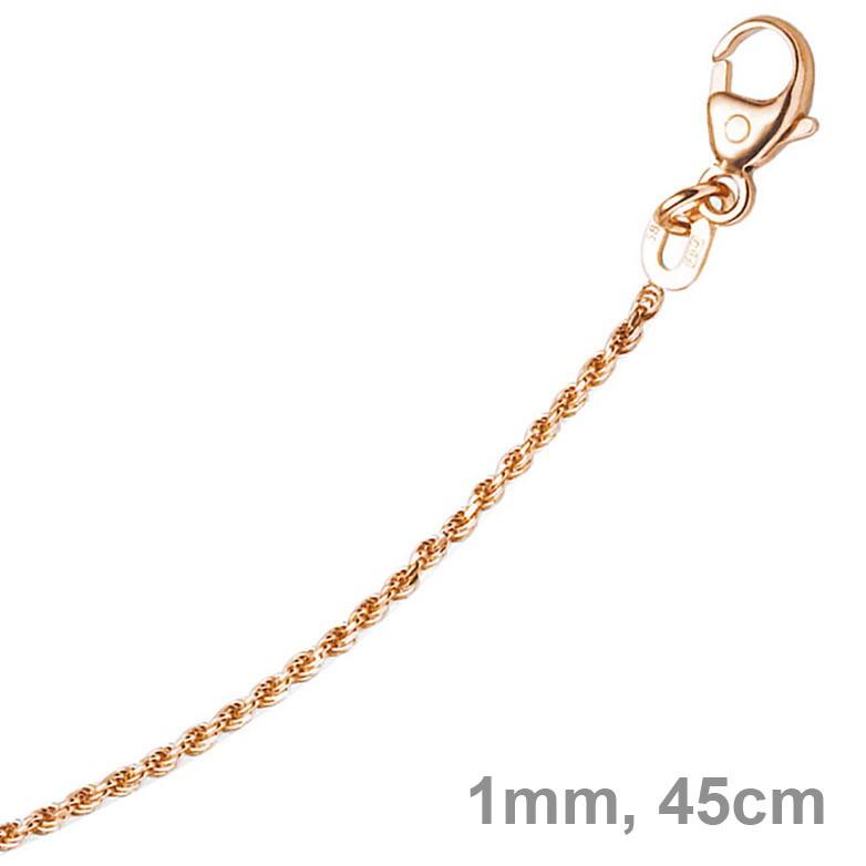 1mm feine kordelkette echt gold 585 rotgold kette halskette 45cm goldkette. Black Bedroom Furniture Sets. Home Design Ideas