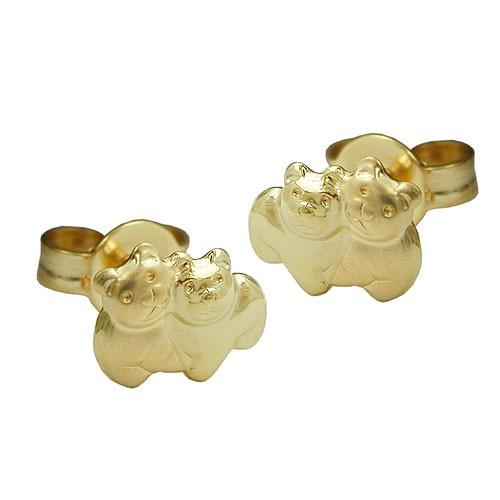 Paar ohrstecker stecker b rchen aus 375 gold matt gl nzend - 375 gold ...