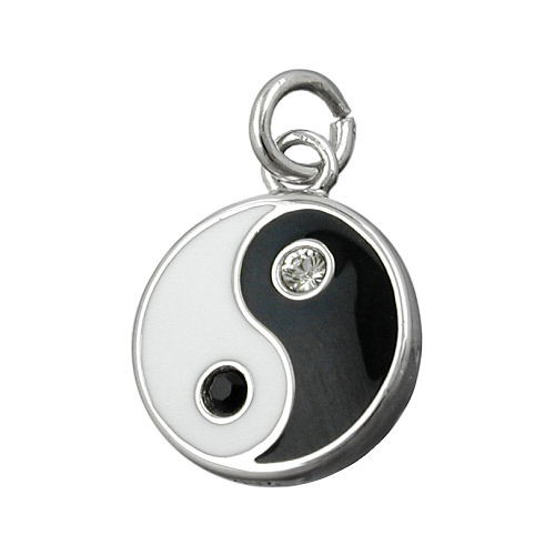 Anhänger Zeichen Yin-Yang 925 Silber schwarz-weiß Kettenanhänger Silberanhänger