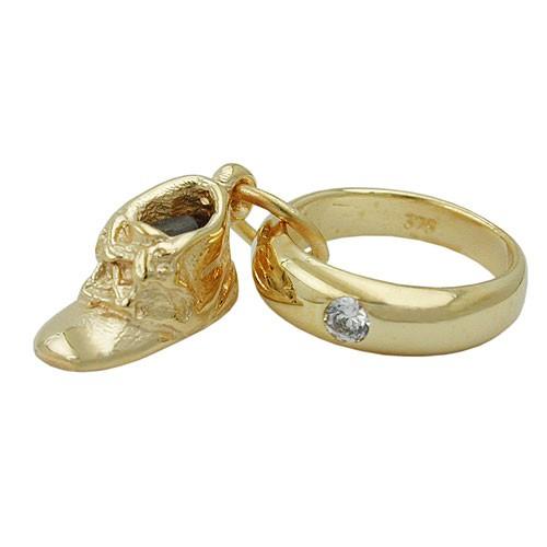 Taufring Anhänger für Taufe aus 375 Gold mit Babyschuh & Zirkonia Goldanhänger
