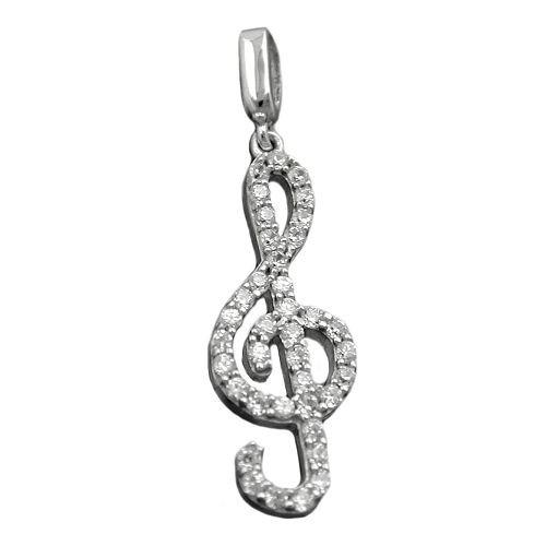Anhänger Violinschlüssel Notenschlüssel mit Zirkonia weiß 925 Silber Damen