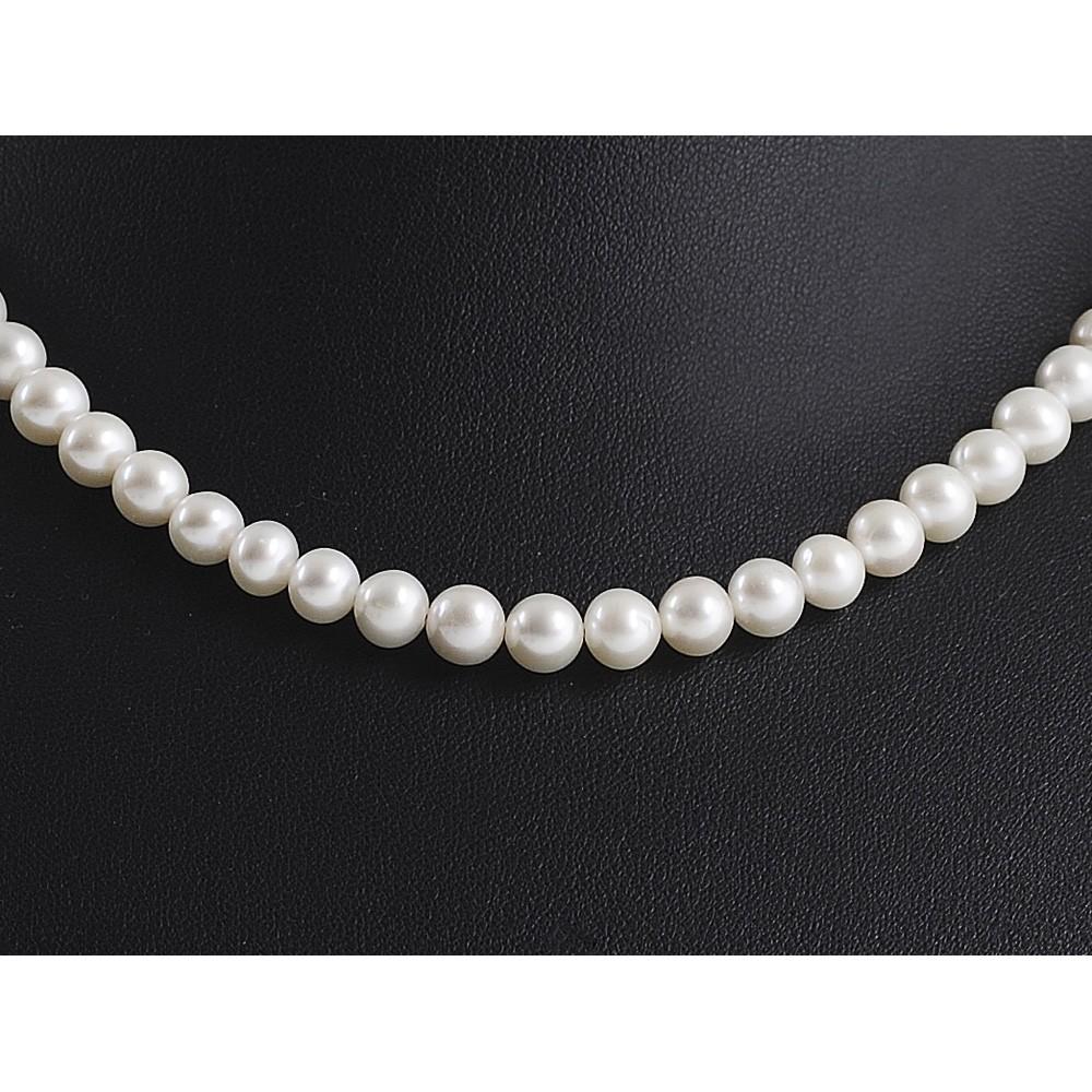 perlenkette kette collier echte perlen creme wei klassisch halsschmuck brautschmuck damen. Black Bedroom Furniture Sets. Home Design Ideas